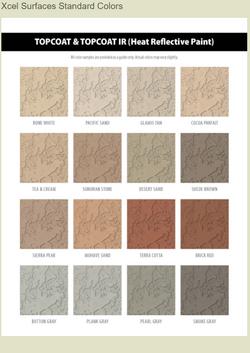 XCEL Surfaces Top Coat Paint color chart