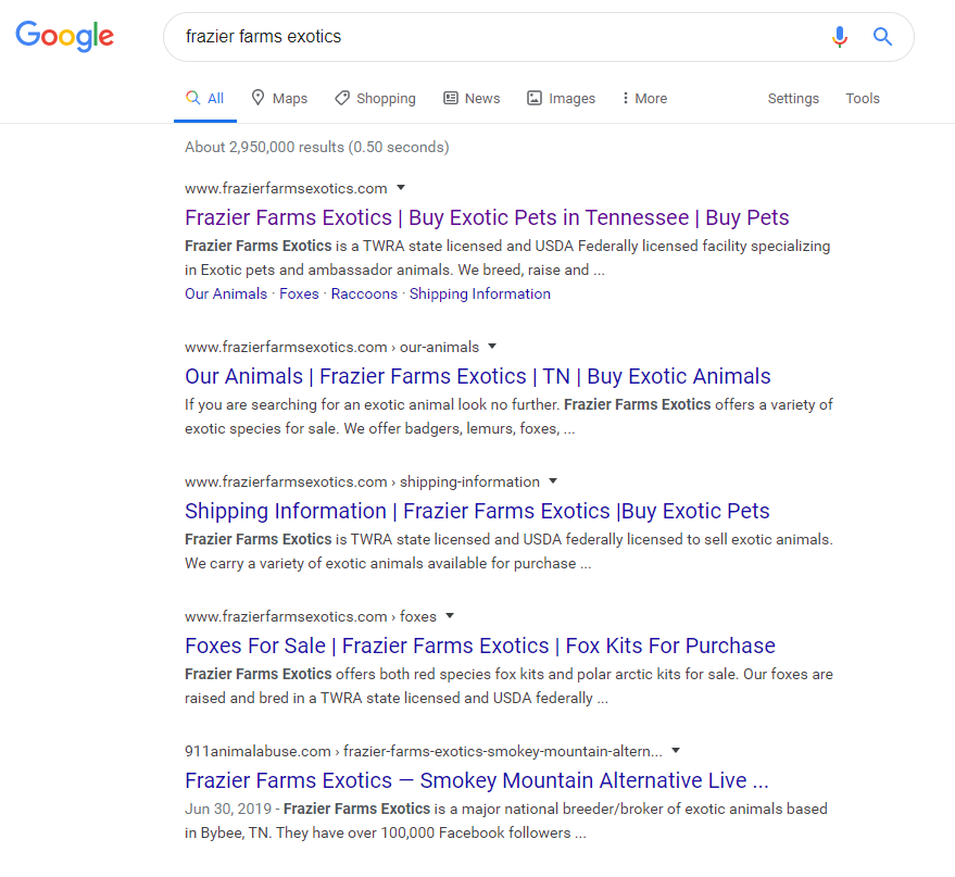 "Google search results for ""frazier farms exotics"" query"