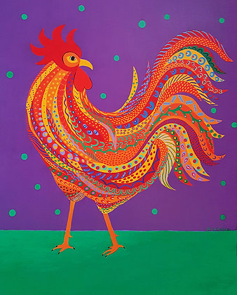 Painting of an orange and magnificent rooster decorated with patterns stands in front of a purple background with green dots