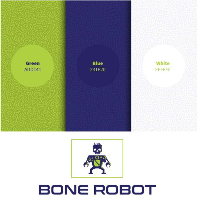 Robot Logo Color Palette | Green, Blue & White