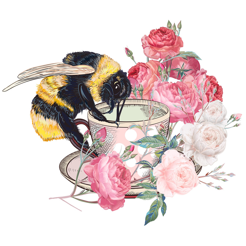 Bumble Bee Drinking Tee with Flowers