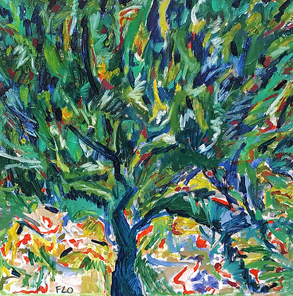 A large square oil painting that represents a tree made of lots of brush strokes going in all directions