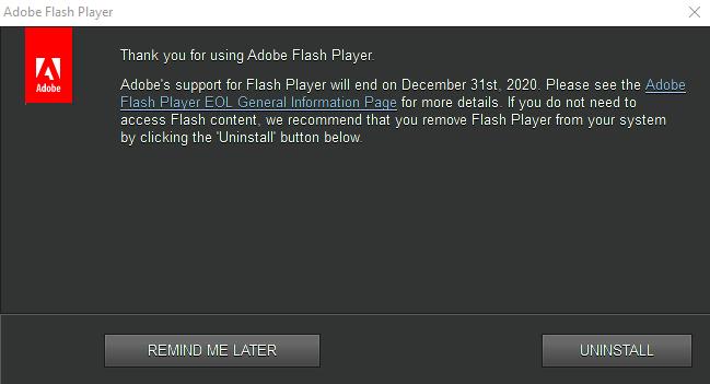 Adobe Flash Ending 12-31-2020
