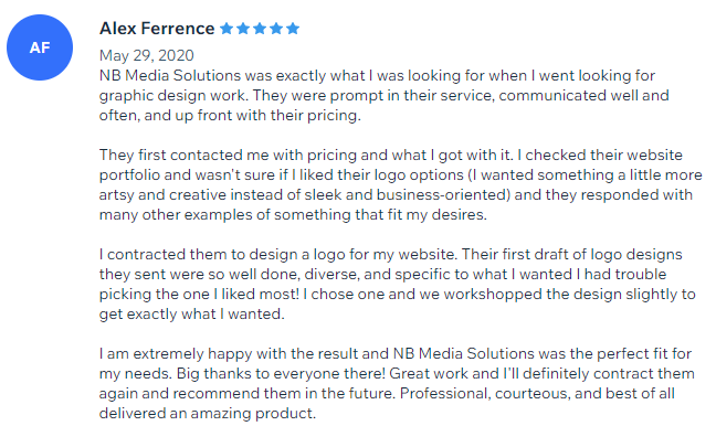 5 Star Review for Logo Design Service