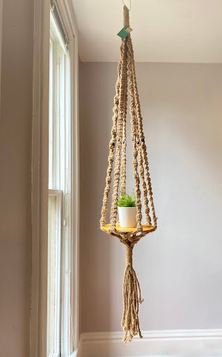 """Boho-Chic"" Natural Jute Macrame  Plant Hanger for Tall/Cathedral Ceilings"
