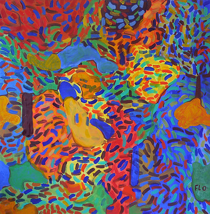 Lots of leaves are flying. They have bright colors. Looks like a painting by Gauguin