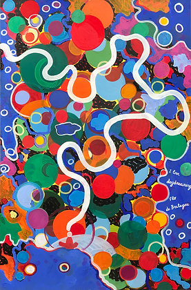 Bright bubbles are everywhere on this abstract painting with a curved path going through