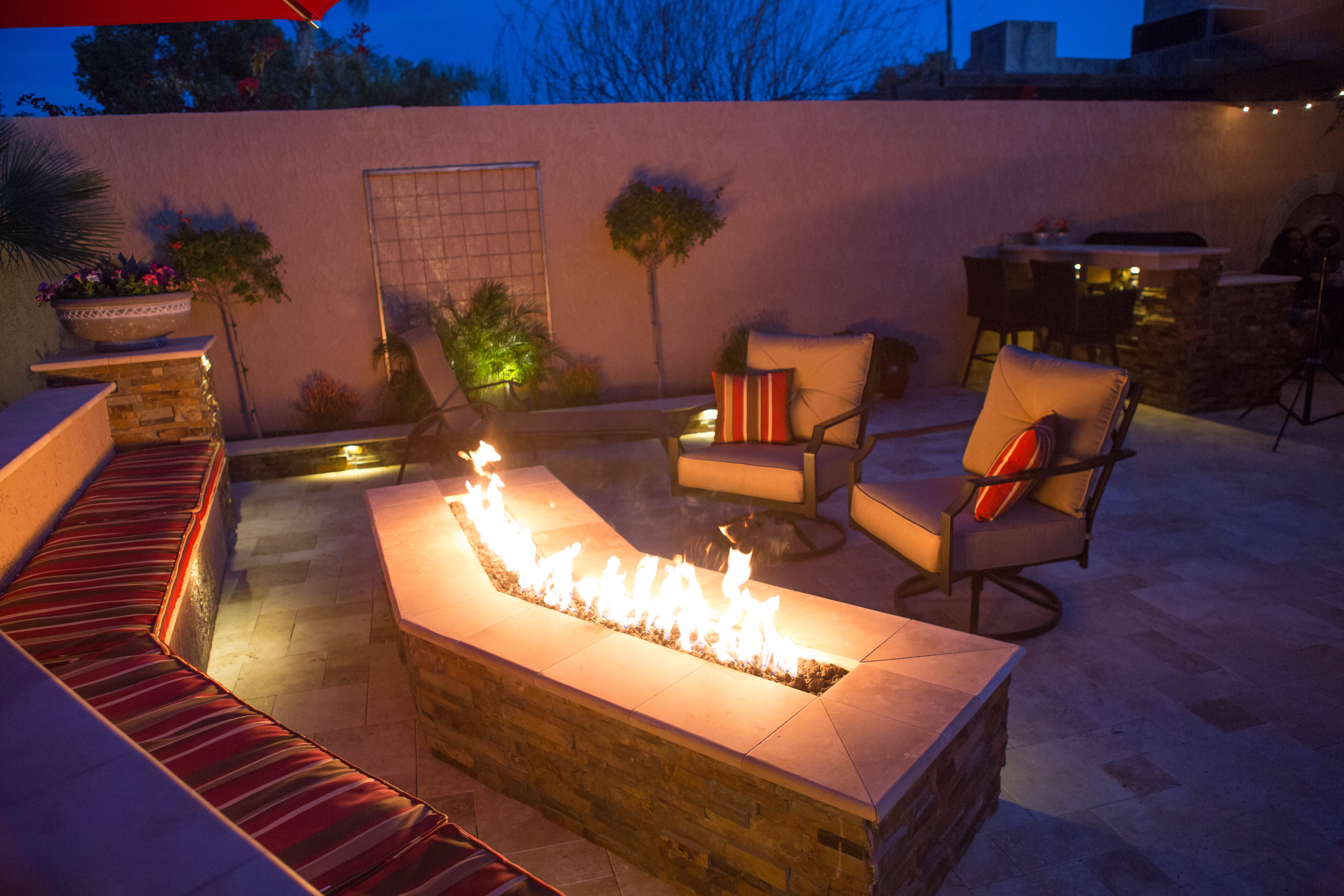 Fire Pit seating area with Seat bench an