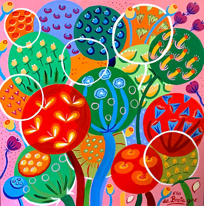 colorful bubbles with seeds and whimsical flowers pop up in front of a bubble gum pink on a very uplifting painting