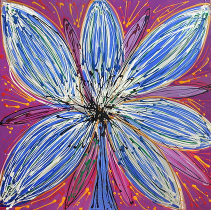 A big bold blue flower on a purple background with golden accents