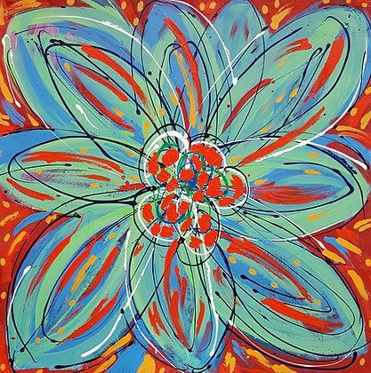 a large square painting with enamel paint that features a big bold green flower on a red background