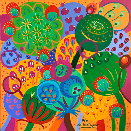 green and yellow tones for this painting of bubbles representing whimsical seeds and flowers