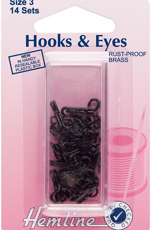 Hooks and Eyes: Black - Size 3