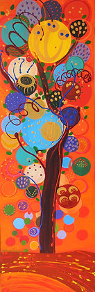 a tree made of large bubbles with splashes of paint dripped on an orange background