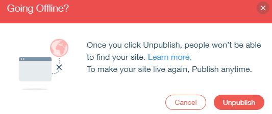 Unpublish Wix Site Prompt