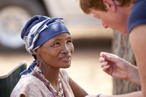 Vanessa and a Bushman lady from the Southern African Kalahari desert in deep discussions about what we can read in the blood (aka genomics). This lady is one of only a few click-speaking hunter-gatherer peoples left who represent an ancient line for all modern humans.