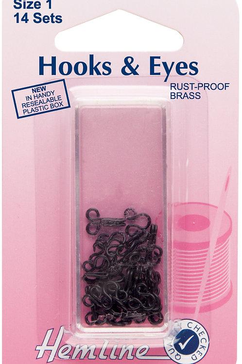 Hooks and Eyes: Black - Size 1