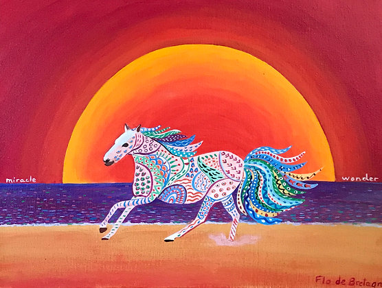 a tiny white horse decorated with patterns galloping in front of a huge sun going down into the ocean