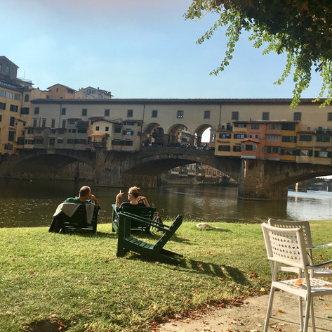 Ponte Vecchio from the banks of the Arno.
