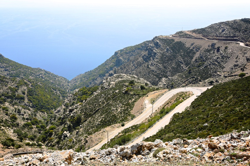 Curvy roads in Ikaria through mountains and valleys