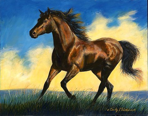 Running Bay Horse