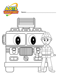 fire truck coloring in .png
