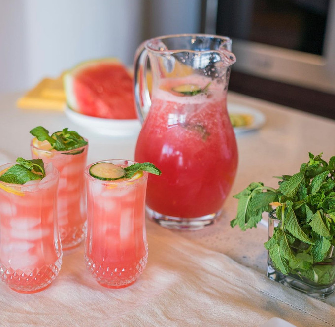 Watermelon Infused Water with Mint