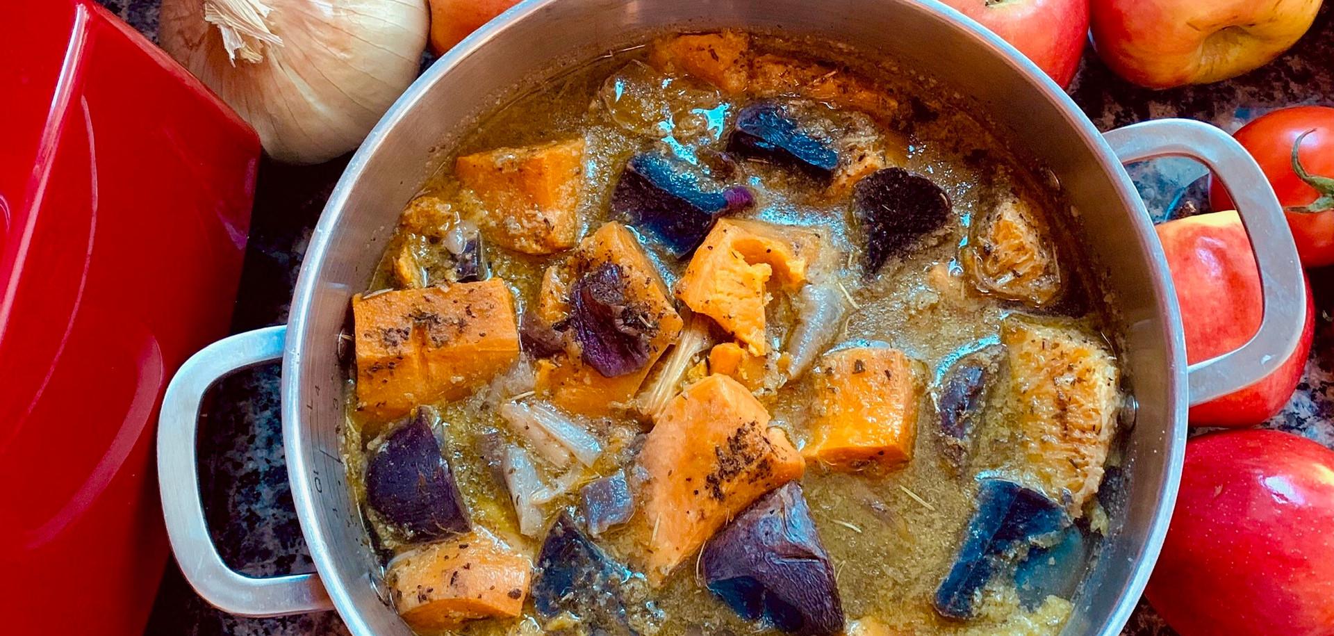 Butternut Squash w/ Sweet & Purple Potato Soup