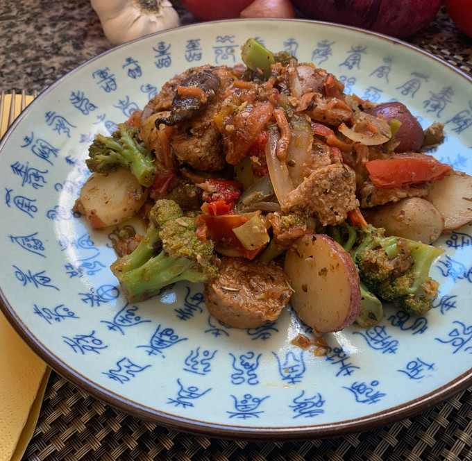 Roasted Vegetables w/ Vegan Sausage