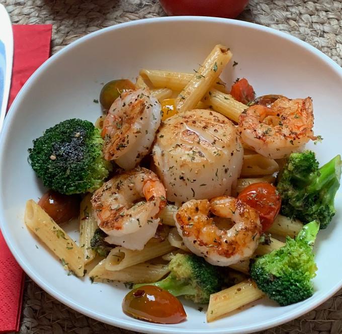Pan Seared Scallops & Shrimp over Penne Pasta