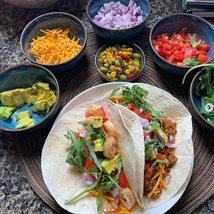 Shrimp & Beyond Meat Tacos