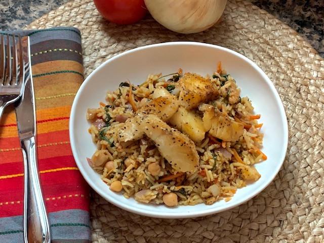 Basmati Brown Rice Paella w/ Pan Seared Cod Fish