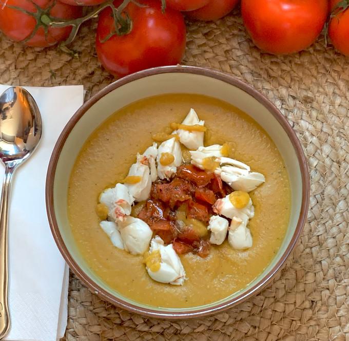 Creamy Crab Bisque w/ Tomato Confit