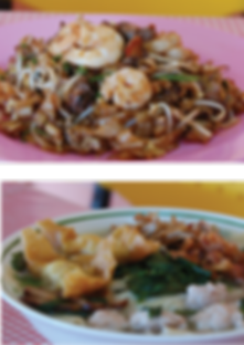 Local favourites - char kuey teow and pan mian