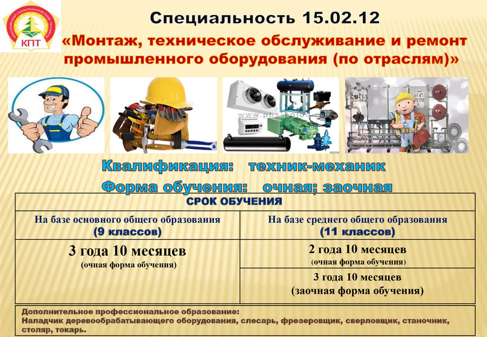 Монтаж, техническое обслуживание и ремонт промышленного оборудования (по отраслям)