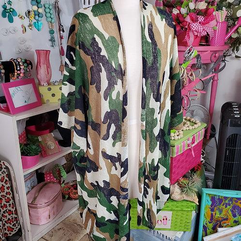 Lightweight Tan/Green/Cream/Black/Gray Camo Kimono