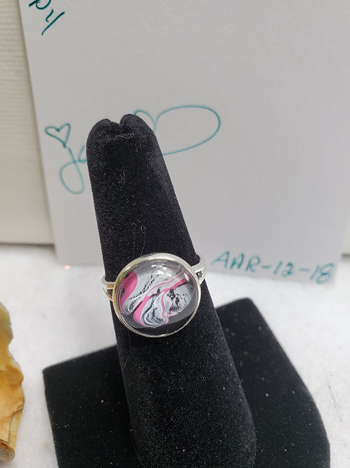 Artistic Acrylic Black/Pink/White small adjustable size ring-stainless s