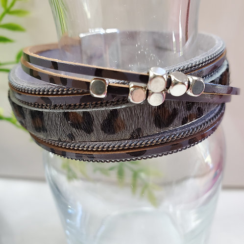 5 Strand Gray and Animal Print Faux Leather Bracelet magnetic clasp