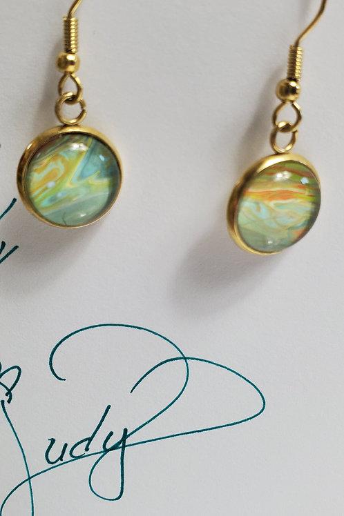 Artistic Acrylic Desert Natural Dangle Earrings on Antique Bronze-tone metal