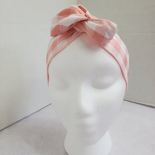Pink/White Checked Wire-wrapped Headband
