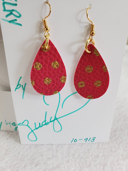 Hot Pink w/ gold dots leather teardrop with gold-tone wires