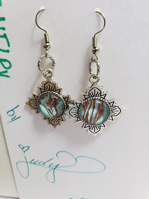 Artistic Acrylic Bronze/Turquoise Fancy Dangle Earrings on silver-tone metal