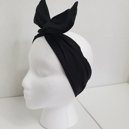 Black Solid Color Crepe Bow-Tie end Wire-wrapped Headband
