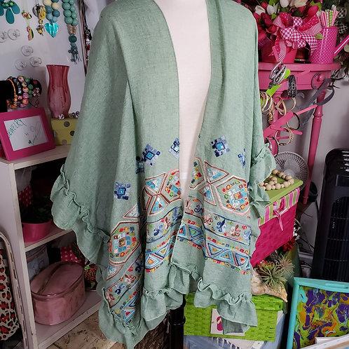 Geometric Multi-pattern green stitched short Kimono