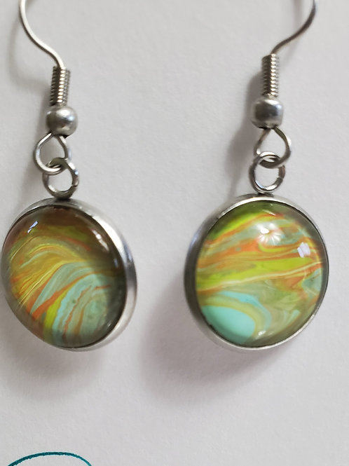 Artistic Acrylic Desert Natural Dangle Earrings on silver-tone metal