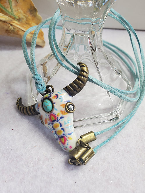 Multi-color Steer Skull Necklace