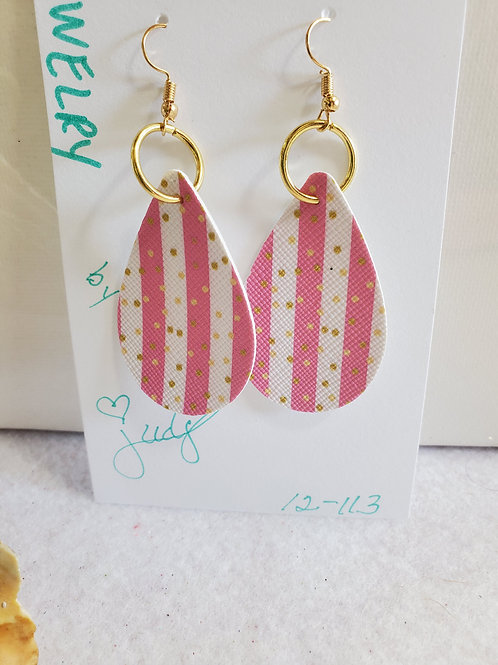 Pink/White striped faux leather teardrop w/gold polka dots w/gold-tone wires