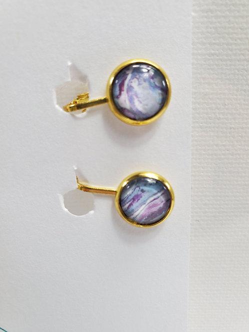 Artistic Acrylic Multi Blue CLIP-ON Earrings gold-tone metal