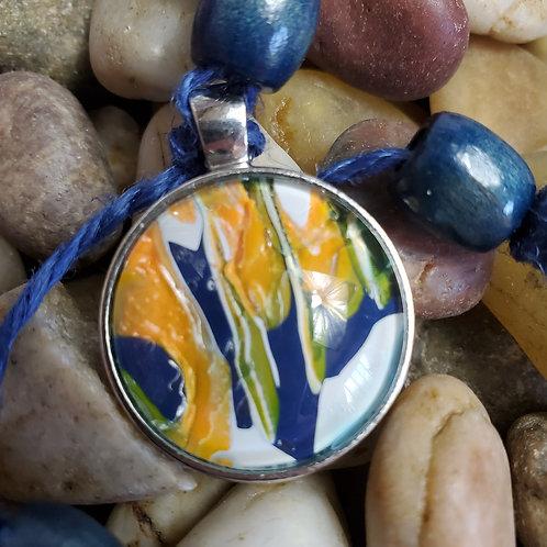 Navy/Blue/White key chain with custom beads and acrylic pendant on hemp