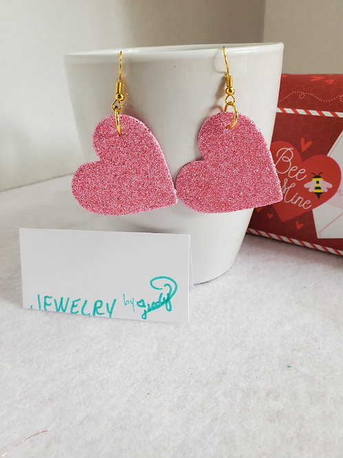 Pink Faux Leather Glitter Hearts with gold-tone wires